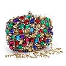 Frauen Abendtasche Acryl Farbe Diamant Kupplungen Taschen Party Gold Hochzeit Silber Kupplung Strass Geldbeutel Umhängetasche
