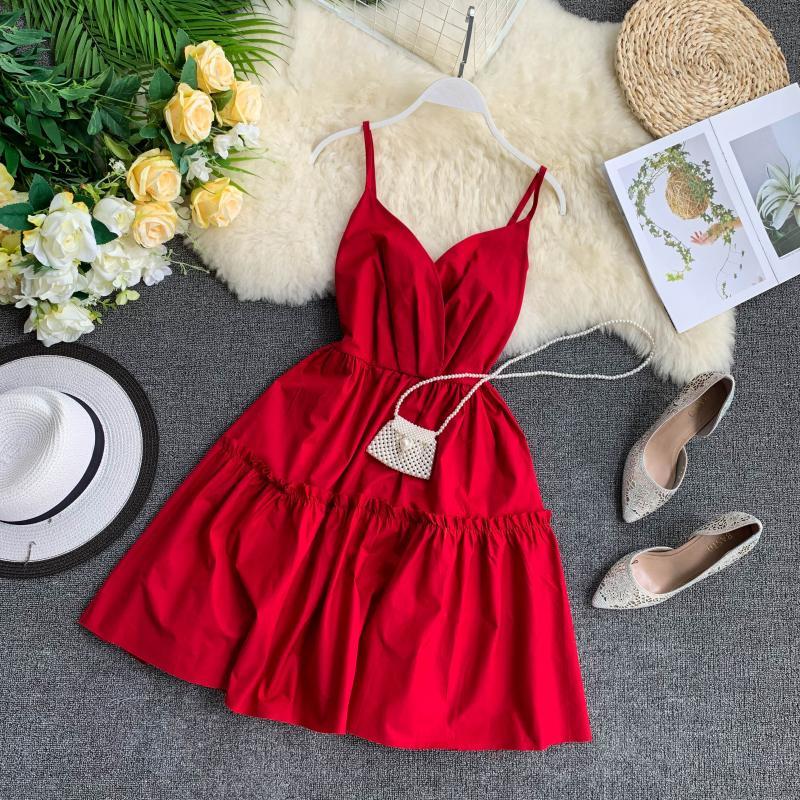 New Sexy V-necklace, Bow Knot, Fluffy Skirt, Insvibrant Girl Dress, Short Skirt