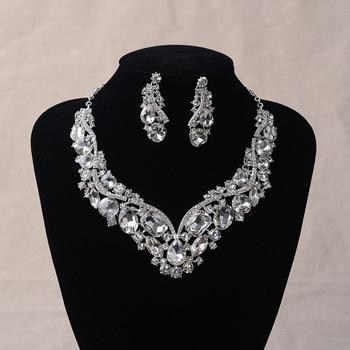 Luxury Rhinestone Wedding Jewelry Sets Earrings Geometric Crystal Statement Necklace Set for Bride African Bridal Jewelry Sets Fashion Jewelry
