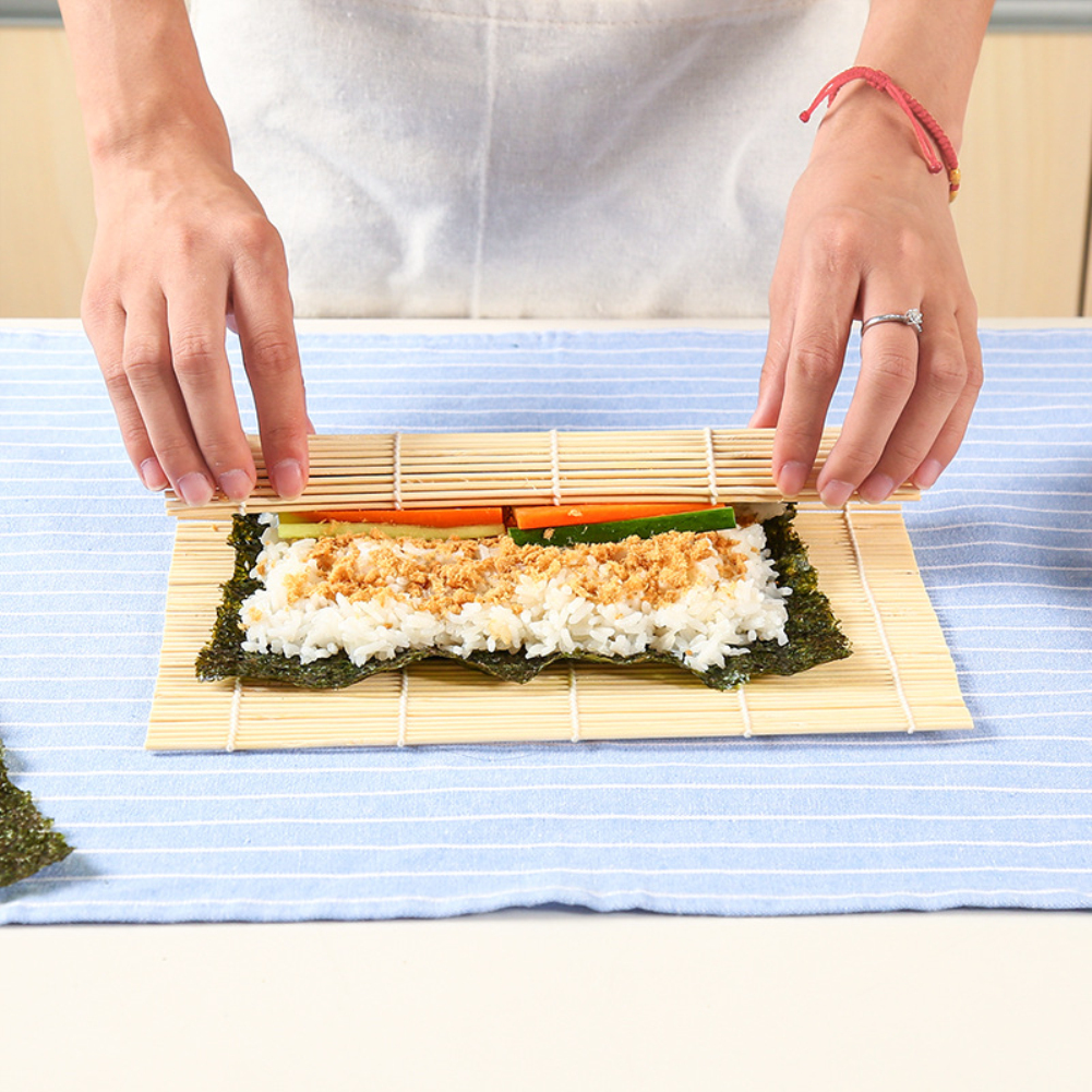 Kitchen REAL BAMBOO Sushi Rooling Mat Non-Stick DIY Maker Rice Rooler Reusable
