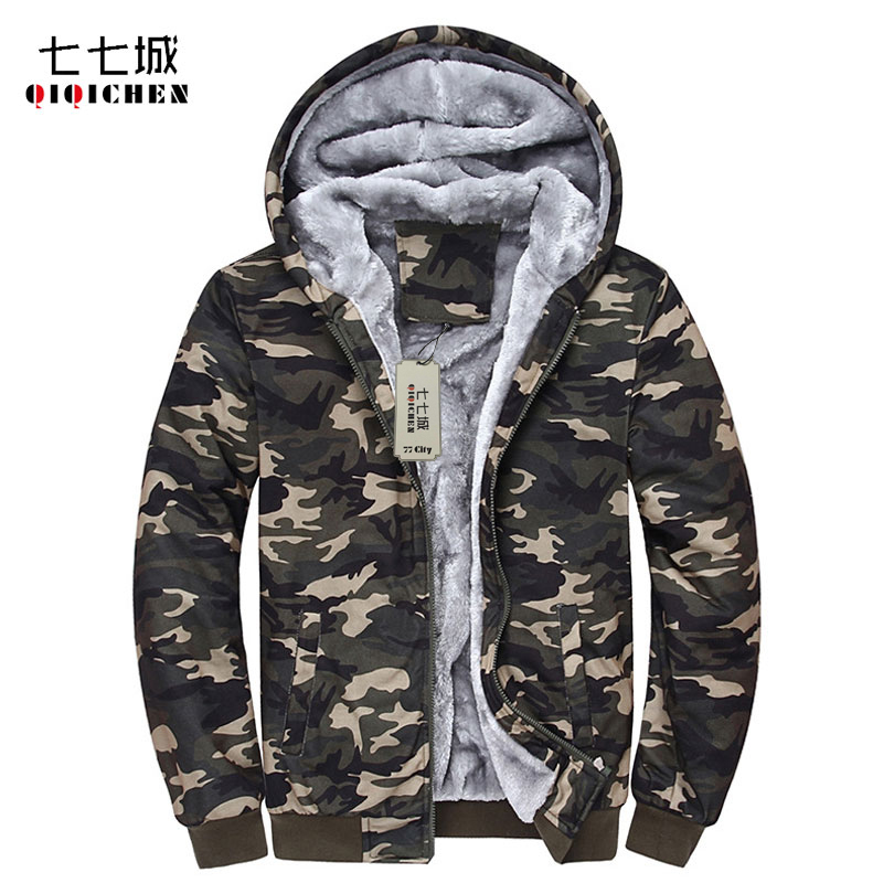 Fashion Cool Winter Men Women Hoodies Tracksuits Warm Thick Camouflage Hoodies Coat Winter Velvet Cardigan Sweatshirts 4XL