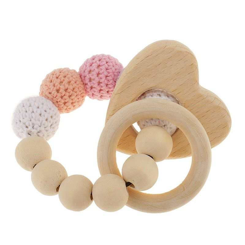FBIL-1 Pc Pearl Teething Rings Wooden Infant Rattle Toy Baby Teething Accessories - Multicolored - Heart
