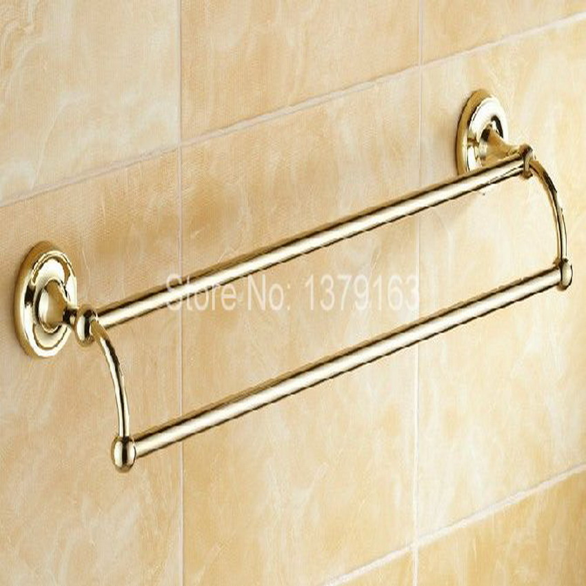 Gold color brass bathroom accessory wall mounted double for Rack for bathroom accessories