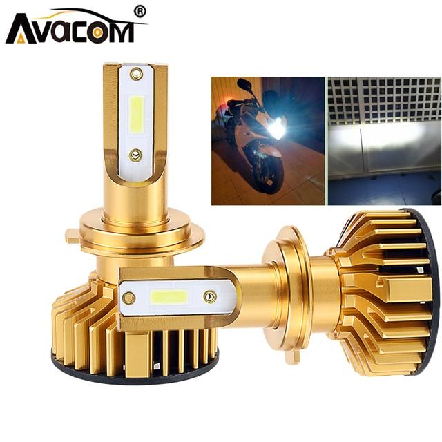 Avacom 2 Pcs LED H4 LED HS1 Moto Headlight Bulbs 12V 6500K White COB Chip 72W 12000Lm H7 Motorcycle Scooter Headlamp Fog Light