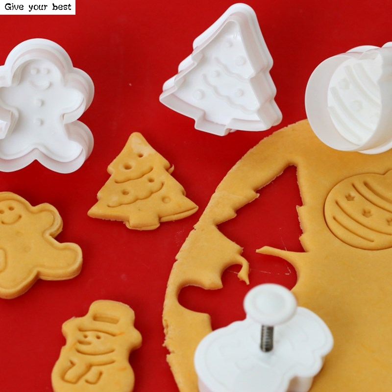 4pcs Stamp Biscuit Mold 3D Cookie Plunger Cutter Pastry Decorating DIY Food Fondant baking Tools Mold Christmas Tree Snowman