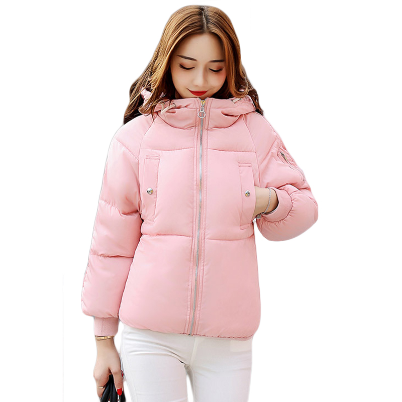 Winter Jacket Women Cotton Short Jacket 2017 New Girls Padded Slim Hooded Warm Parkas Female Stand Collar Autumn Outwear CM1434 mozhini winter jacket women cotton short jacket girl padded slim hooded warm parkas fake fur collar coat female autumn outwear