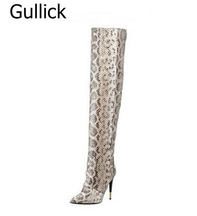 Winter Stiletto Metal Heel Boots Celebrity Sexy Python Pattern Over the Knee Boots Long Thigh High Boots Free Shipping