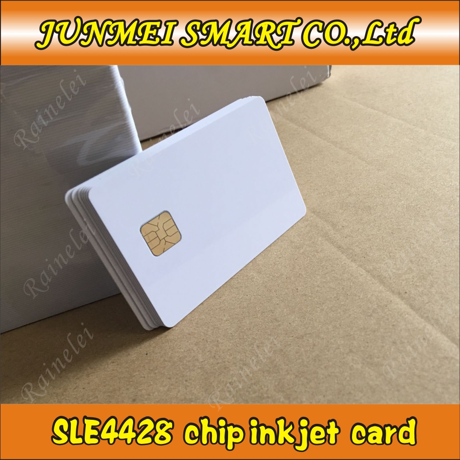 100pcs ISO7816 PVC Blank card SLE4428 chip 1K contact IC smart Card for inkjet printer