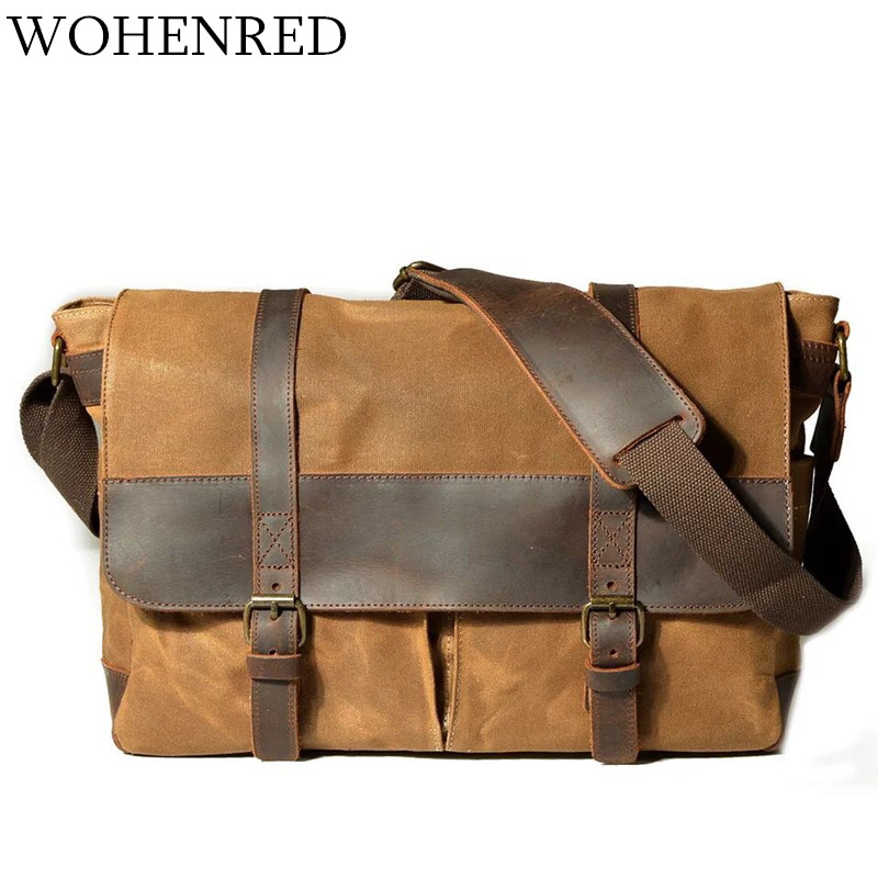 Waterproof Canvas Leather Shoulder Bag Men Crossbody Bags Vintage Satchel School Male Messenger Bag Business Laptop Work Bags augur canvas leather men messenger bags military vintage tote briefcase satchel crossbody bags women school travel shoulder bags