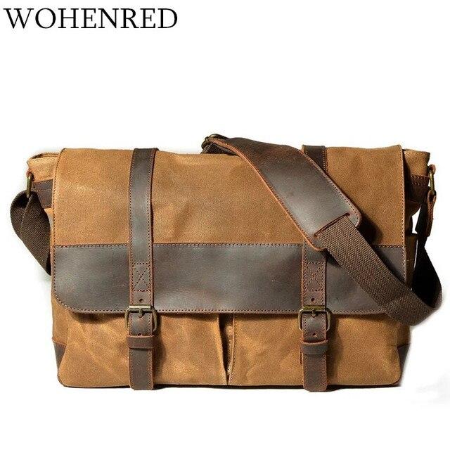 efa15a245f55 Waterproof Canvas Leather Shoulder Bag Men Crossbody Bags Vintage Satchel  School Male Messenger Bag Business Laptop Work Bags