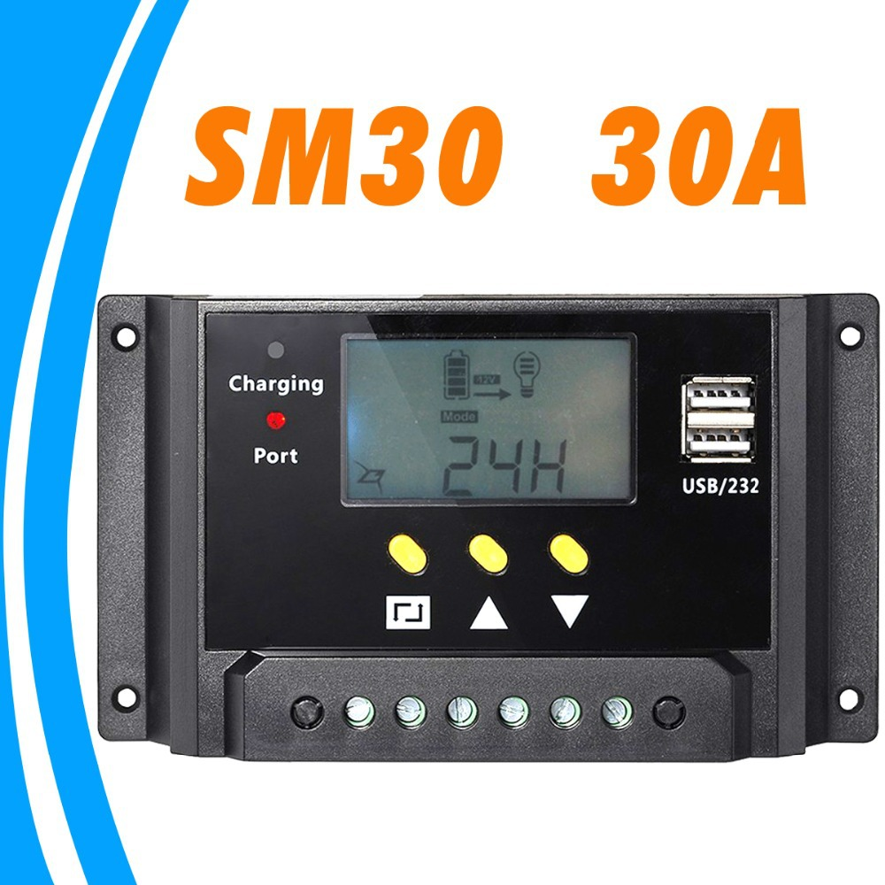 30A LCD Solar Charge Controller with Dual 5V USB 12V 24V Battery Charger Control Light and Timer Control for USB Light Warranty solar charger controller 12v3a adjustable light control timer to take the amount of low priced factory outlets