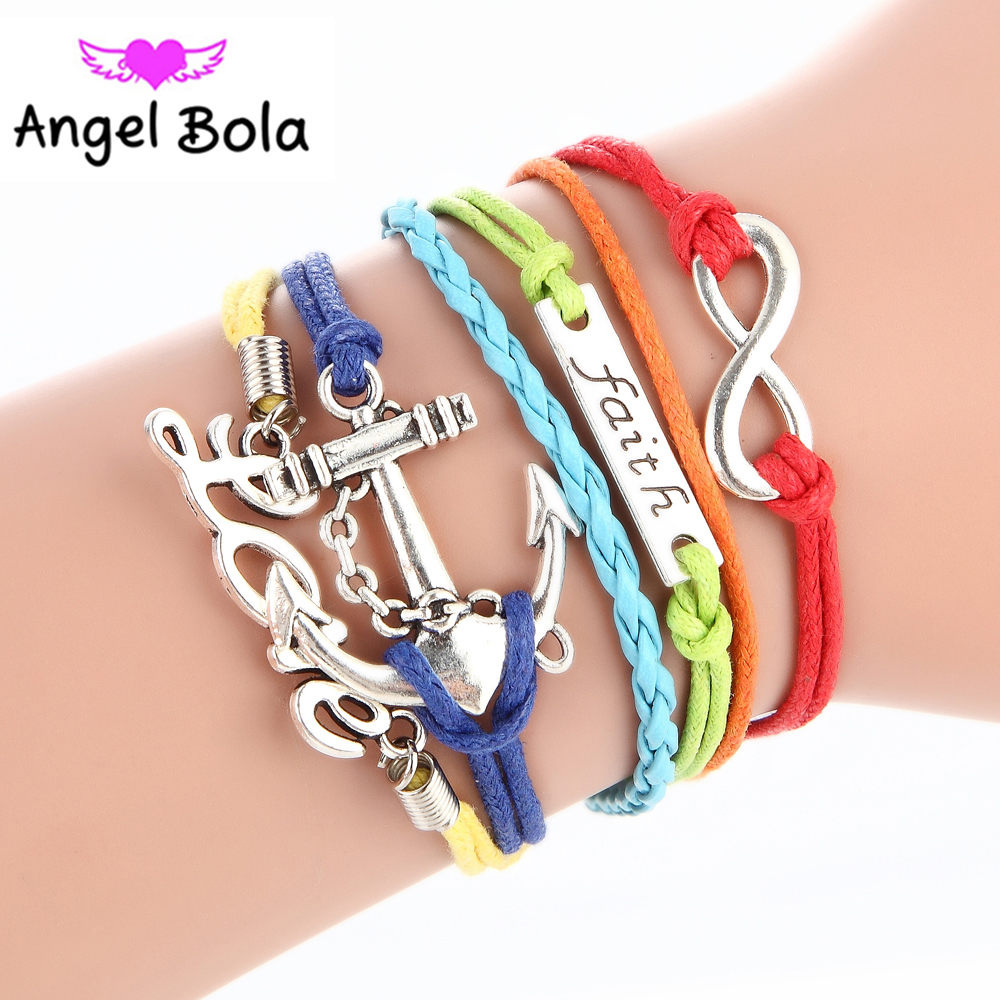 2017 Pryme Jewelry Endless Cut Bracelet Fashion Multilayer Infinity Bracelets Leather Fsith Bangle For Pretty Lover Gift