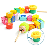 Children Puzzle Toy Large Size Caterpillar Wooden Toys DIY Early Education Graphics Cognitive Building Block Birthday Gifts