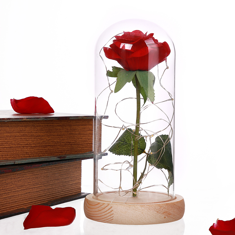 1Pcs Beast Red Rose Flower Vase Party Decorations In Glass Dome Wooden Base Valentine Day Flowers Christmas Mother's Day Gift