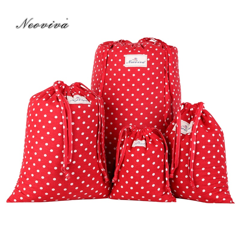 Neoviva Cotton Drawstring Storage Bag For Shoes And Laundry, Pack Of 4 In Different Sizes, Polka Dots Lollipop Red Laundry Bags
