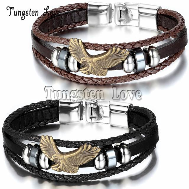 Men Vintage Jewelry Eagle Leather Bracelet Hand Make Wholesale Multilayer braided   Bangles For Men pulseira couro