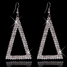 Luxury Austrain Crystal Triangle Dangle Earrings for Women Gold Silver Plate Geometric Drop Earring Wedding Jewelry Lady Brincos