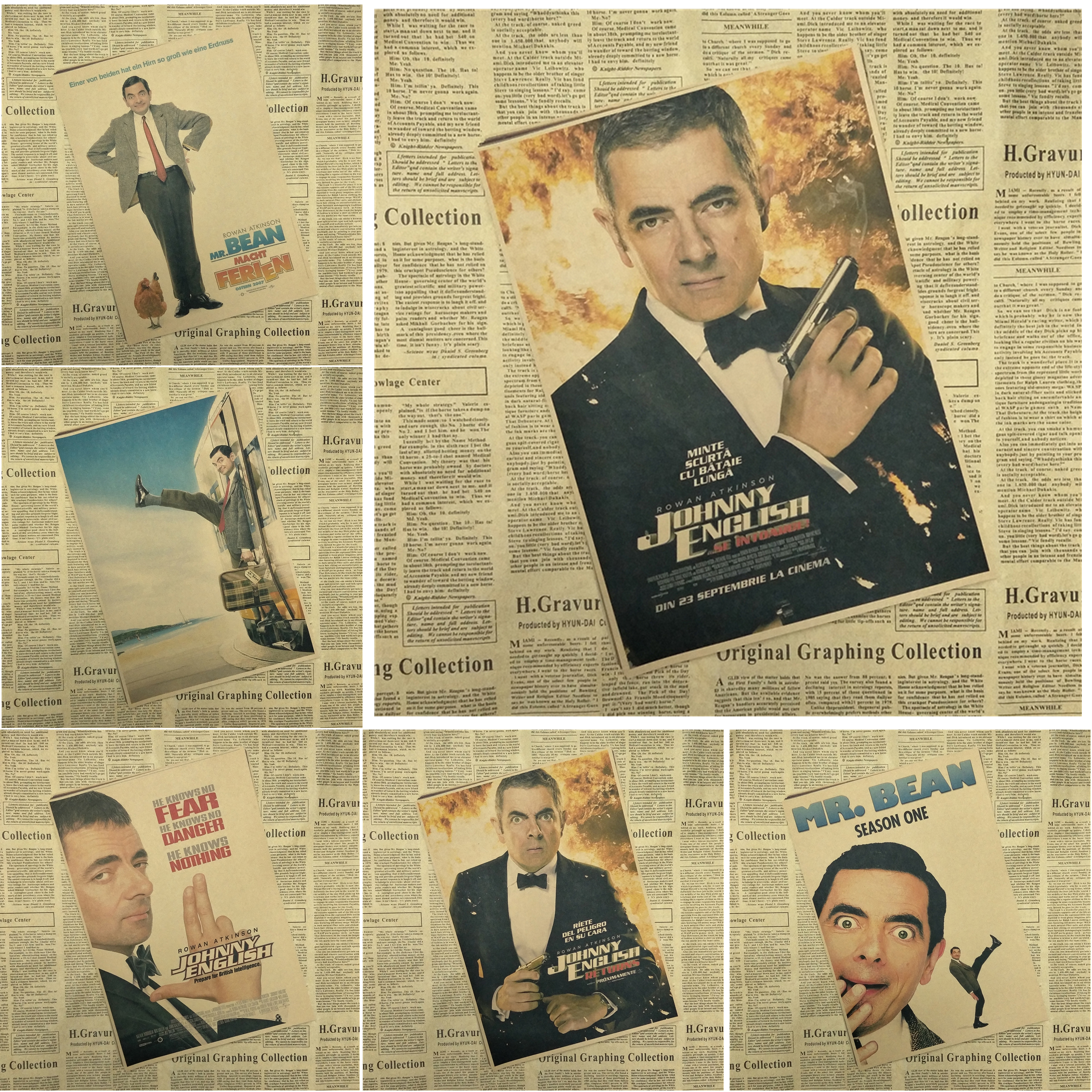 Mr. Bean классический фильм kraft Бумага Плакат Бар Кафе Гостиная столовая настенные декоративные Картины