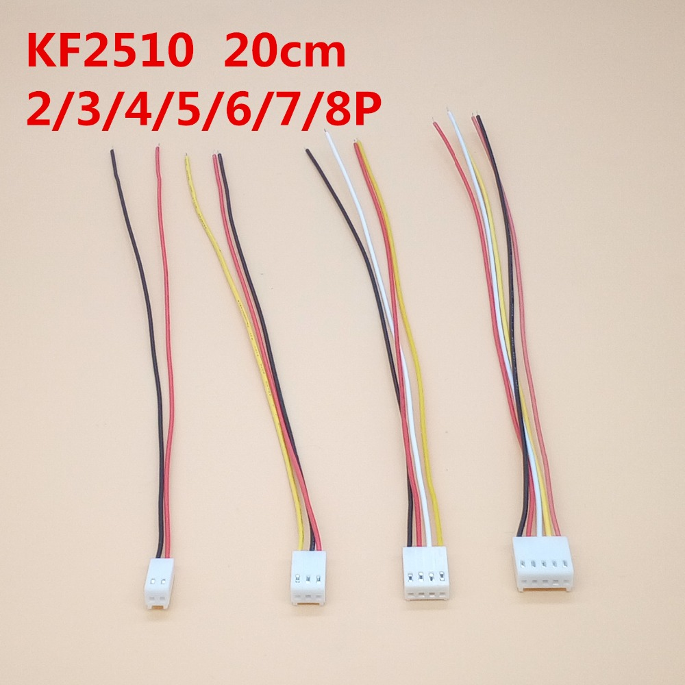 Hot Sale 20pcs Kf2510 254 Connector Plug Wire Cable 20cm Long 26awg Wiring A End 2 3 4 5 6 7 8p Single