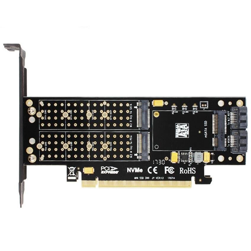 SK16 M.2 NVMe SSD NGFF À PCI-E3.0 X16 adaptateur M Clé B clé mSATA interface carte Suppor PCI Express 3.0 3 en 1 double 12 v + 3.3 v