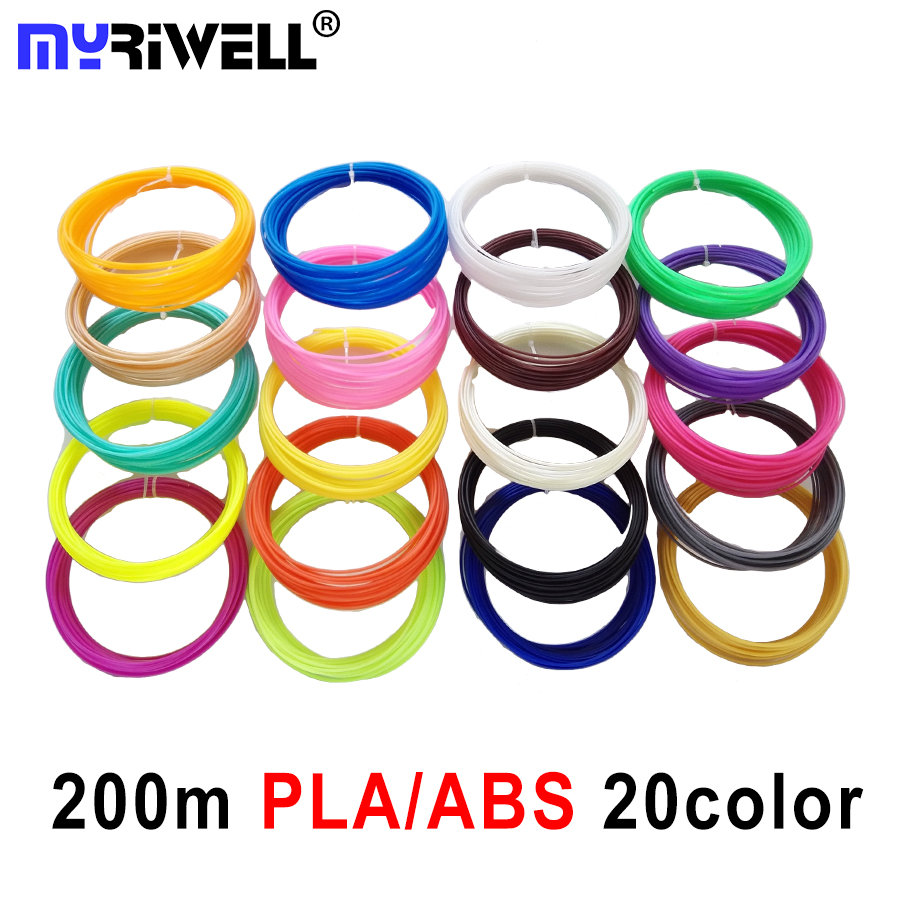New Free Shipping 20Pieces lot 3D Printer ABS Filament 10M pcs 20 Colors 1 75mm PLA