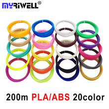 New Free Shipping 20Pieces/lot 3D Printer ABS Filament 10M/pcs 20 Colors 1.75mm PLA 3D Print Filament For 3D Printer Or 3D Pen
