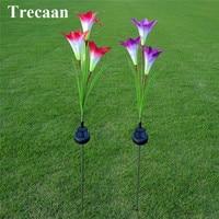 Trecaan 2ピース/ロット防水ソーラーライトユリの花赤/紫屋外景観装飾ガーデン庭芝生ホワイトライ