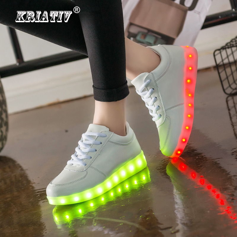 KRIATIV Luminous Led Neon Sneakers Light up Flashing Trainer Flasher glowing sneakers White Luminous Shoe with usb for Boy&Girl