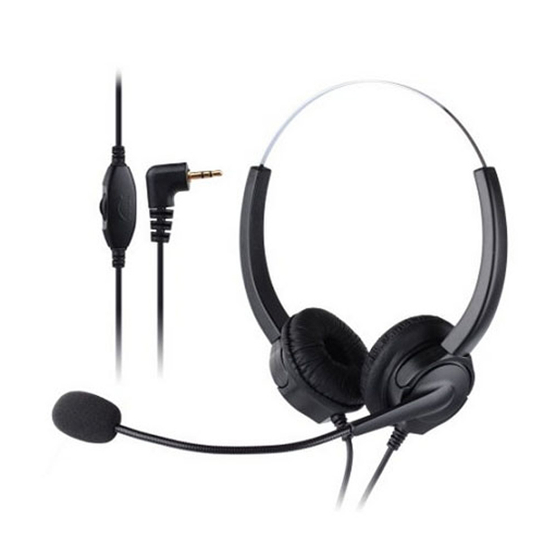 Professional Telephone Headset Clear Voice Noise Cancellation Customer Service Wired Head-mounted Headphone 2.5mm Earphone Jack