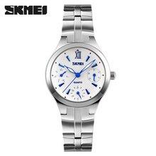 women quartz watch SKMEI brand steel watch luxury 6 hands waterproof wristwatches hot business ladies silver watch reloj mujer