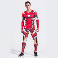 3D Super Hero Print T Shirt Compression Man Gym Fitness Fashion Casual Tight Shirt Top Fitness