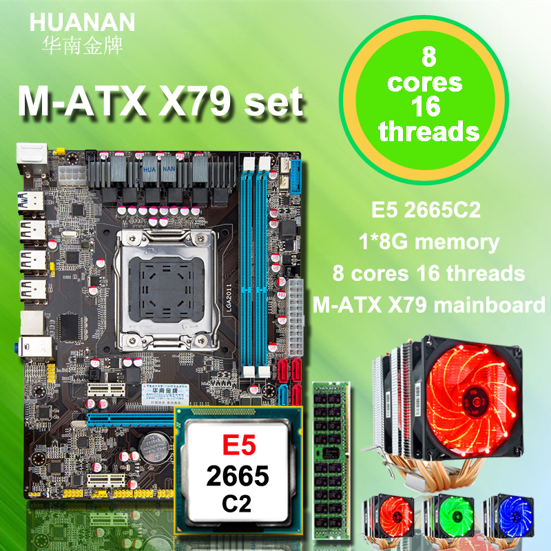 Cadeau de noël remise carte mère ensemble HUANAN ZHI M-ATX X79 LGA2011 carte mère avec CPU Xeon E5 2665 C2 avec cooler RAM 8g REG ECC