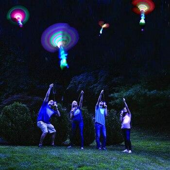 6 יח'\סט רקטות מסוקי במבוק שפירית את לילה זבוב צעצוע הקלע LED מיני מסוקי זוהר בחושך חיצוני צעצועים