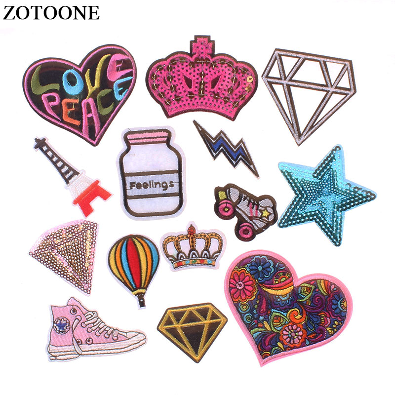 ZOTOONE Cartoon Pattern Patches for Clothing Love Diamond Iron on Cute Sewing Embroidered Accessories E