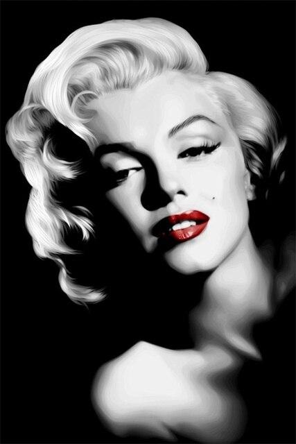 Custom Canvas Arts Marilyn Monroe Poster Sexy Red Lips Wall Stickers Marilyn  Monroe Wallpaper Kids Bedroom