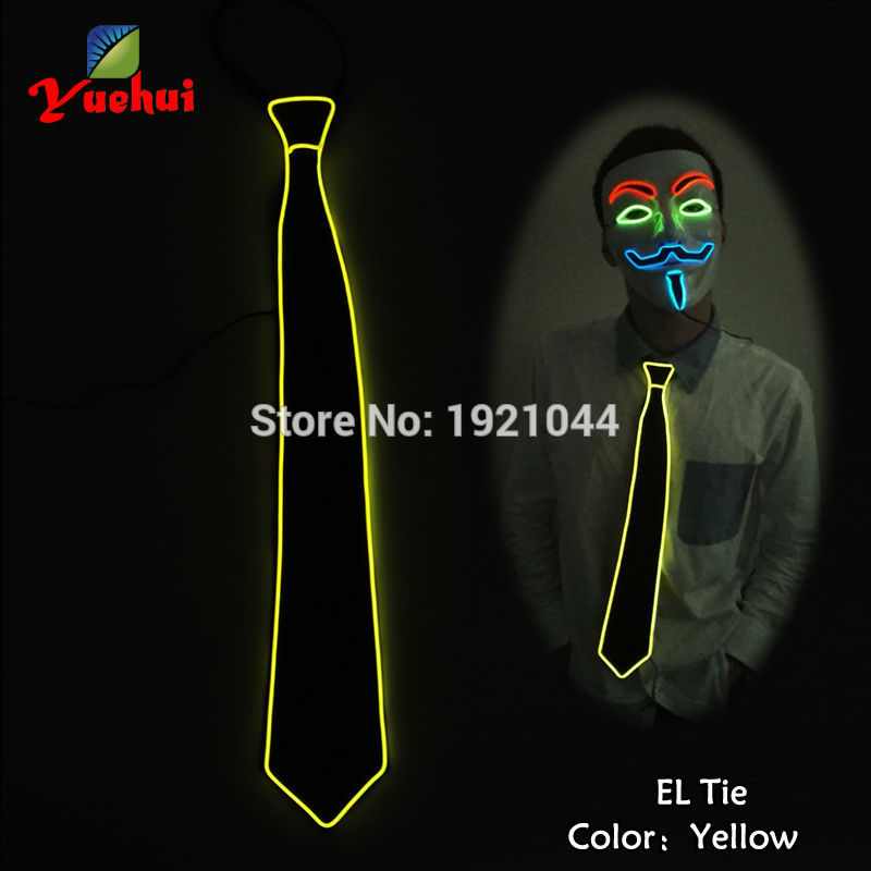 10 Fashion Colourful Hiphop Club Glowing Flashing EL Wire Neck Tie Neon Rope Tube Glowing Light Neck tie for party Decoration