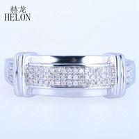HELON Mens Band Pave Natural Diamonds Party Jewelry Setting Solid 10K White Gold Engagement Wedding Men's Jewelry Fine Ring