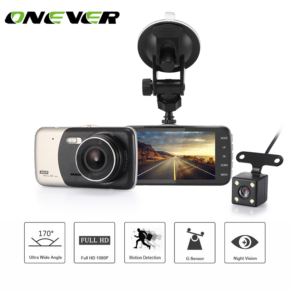 Onever 1080P FHD Car DVR 4 0 inch Dash Camera Dual Lens HD Video Recorder G