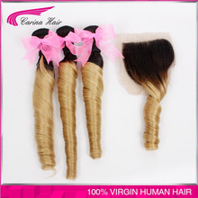 Ombre Hair Extensions Chinese Anti Curly Virgin Hair 3pcs with lace closure 1B/27 Two Tone Human Hair Free Shipping Hair
