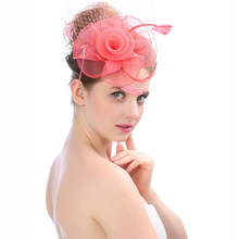 HT1779 Fashion Bridal Net Feather Hair Clip Hats Rose Flower Fedora Hats for Women Ladies Wedding Party Hat Elegant Vintage Hats(China)