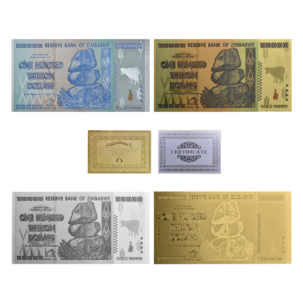 Us 4 7 6 Off Wr Original 4pcs Gold Banknotes 100 Trillion Dollars Zimbabwe Silver Fake Money Dollar Replica Copy Banknote Collectibles In