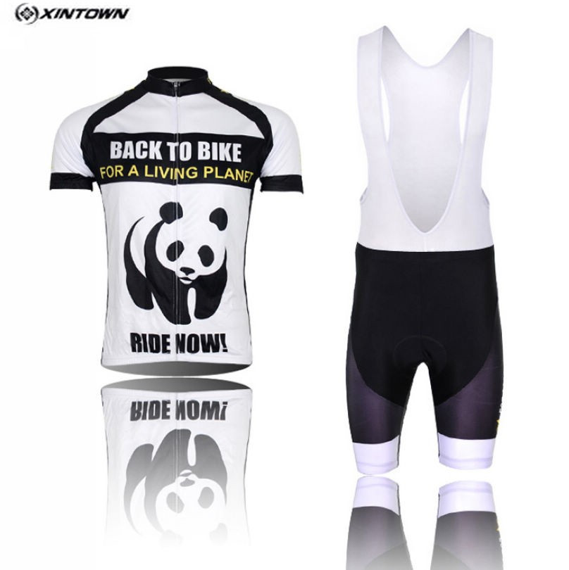 XINTOWN Cycling Jersey Bib shorts White Men Bike Clothing Panda Pro MTB Bicycle Top Cycling Wear Shirts for summer 2016 new men s cycling jerseys top sleeve blue and white waves bicycle shirt white bike top breathable cycling top ilpaladin