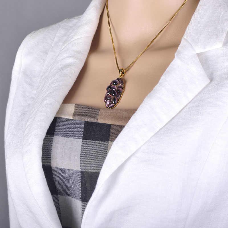 Blucome Neue Dubai Lila Halskette Ohrringe Trauben Form Simulierte Opale Schmuck Sets Frauen Hochzeit Bankett Party Zubehör Geschenk