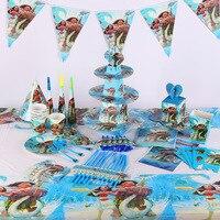 Disney Moana Maui 112Pcs/Lot Baby Shower Children Birthday Decoration Wedding Celebration Supplies Disposable Tableware Sets