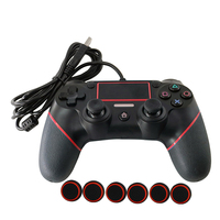 3色コントローラで親指スティック用ps4有線ゲームパッド用プレイステーションデュアルショック4ジョイスティックゲームパッドコントローラ2.2メートルケーブル