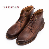 KRUSDAN Модные мужские полусапоги ретро обувь из натуральной кожи ручной работы Для мужчин бренд Туфли без каблуков короткие Martin военные мотоб