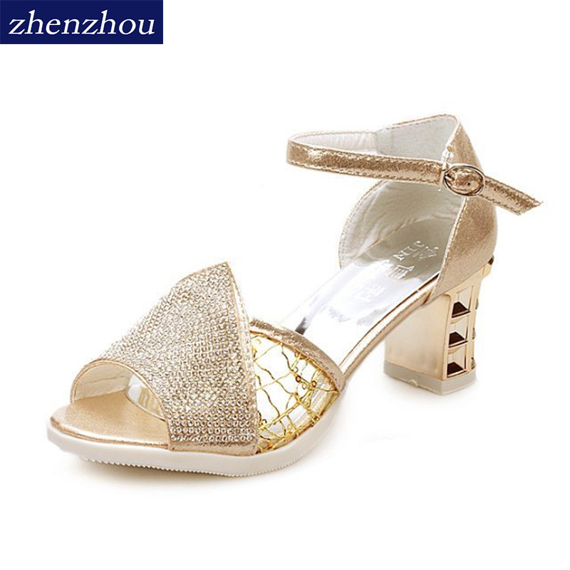 ZHENZHOU 2018 summer new diamond sandals Thick bottom high heels Fish mouth shoes simple waterproof platform women shoes 2016 summer new fish head roman sandals women 14cm heels thick with thin waterproof shoes