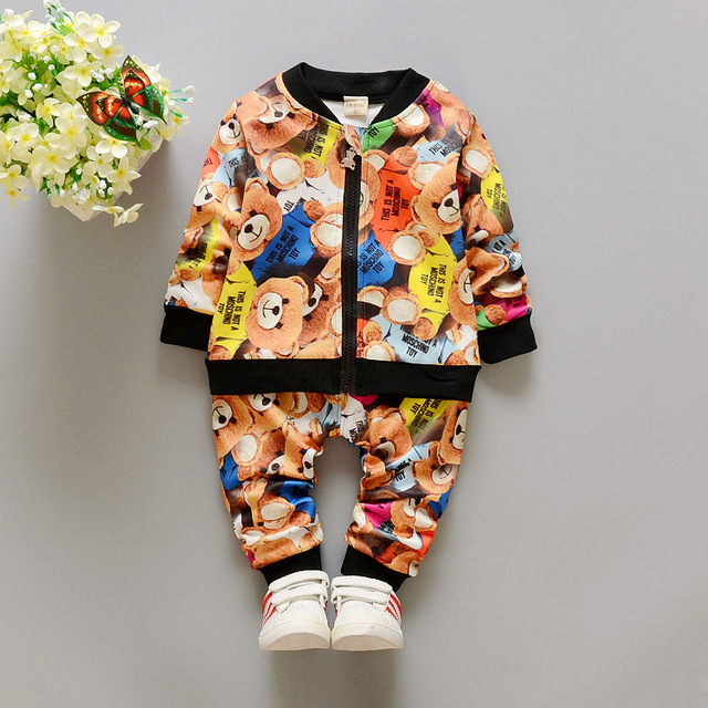 0-3Y New Kids Clothes Boys Sporting Suit Children Clothing Set Cotton Baby Girls Boys Tracksuit Zipper Girl Clothing H11262