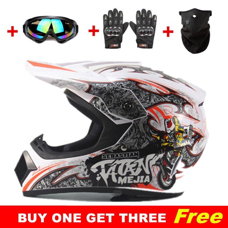 Koop een krijg drie gratis Motocross Helmen ATV Crossmotor Downhill - Motoraccessoires en onderdelen