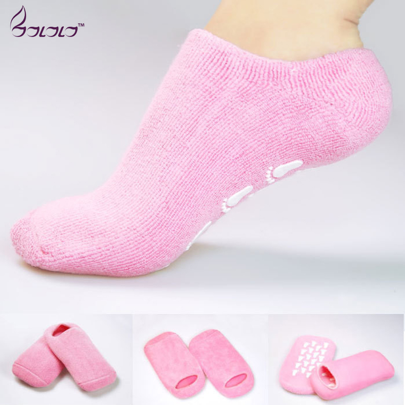 gel spa socks moisturizing whitening exfoliating pink mask ageless beauty foot mask feet skin care high quality silicone sock 2